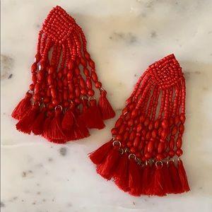 BOGO! Statement Red Beaded Tassel Earrings